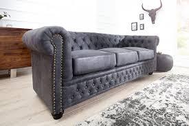 3er sofa grau edles chesterfield 3er sofa grau im antik look knopfheftung und