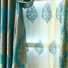 Bright Blue Curtains Classic Chenille Jacquard Craftsmanship Bright Blue Curtains