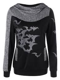 halloween bat print marled hoodie heather gray xl in sweatshirts
