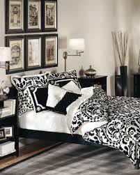 combination of gothic and minimalist black white bedroom bedroom focus on trendy black and white twin bed bedding set idea plus unique wall lamps