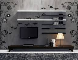 Altus Plus Floating Tv Stand Furniture Home With Black Metal Wall Mounted Tv Stand With Double