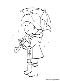 caillou umbrella coloring pages