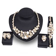 gold plated statement necklace images Everrich crystal bridal cream simulated pearl gold plated jpg
