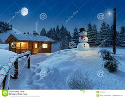 Winter House Log House In A Winter Christmas Scene Royalty Free Stock