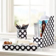 Desk Accessories Organizers Printed Paper Desk Accessories Set Black Dottie Pbteen