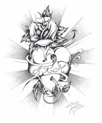 drawing of hearts and roses sketches of hearts and roses heart