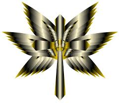 artistic cross with wings and peace symbol isolated stock image