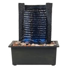 table top water fall pure garden 10 5 in led waterfall tabletop fountain m150050 the
