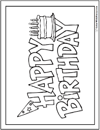 55 birthday coloring pages customizable pdf cake banner happy