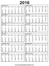 printable december 2016 calendar pdf calendar 2016 printable 12 month calendar on one page from