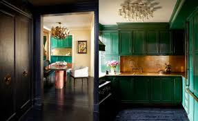 Kelly Green Door With Brass Hardware Interiors by