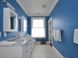 select blue theme for the interior design of a bathroom will give