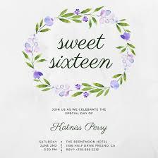 violet floral composition simple sweet 16 invitation templates