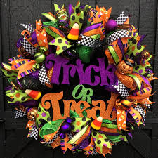 halloween trick or treat deco mesh door wreath halloween wreath