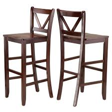 Outdoor Bar Stools Cheap Amazon Com Winsome Victor 2 Piece V Back Bar Stools 29 Inch