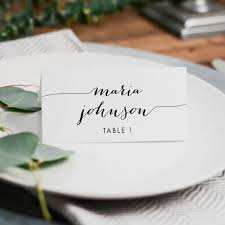 printed wedding place card 3 5x2 folded card rustic