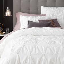 Bed Covers Set Organic Cotton Pintuck Duvet Cover Shams White West Elm
