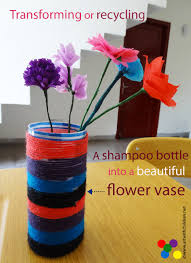 yarn wrapped plastic bottles shampoo bottle recycle craft