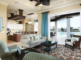 living room and kitchen open floor plan relaxed coastal cottage seaside open floor plan tranquil polka dot
