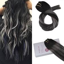 silver hair extensions clip in hair moresoo black mixed silver extensions moresoo