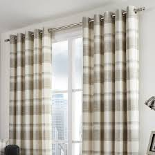 Cotton Tie Top Curtains by Balmoral Check Natural Eyelet Curtains Eyelet Curtains