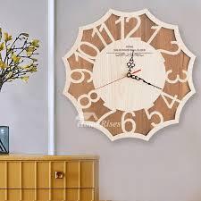 silent wall clocks wall clock hanging decorative wooden natural rustic bedroom