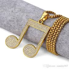 antique necklace pendants images Wholesale mens women golden bling musical note rhinestone jpg