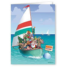 sailing santa reindeer boating card 18