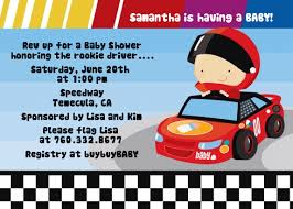 nascar inspired racing baby shower invitations candles and favors