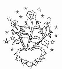 roses in heart valentines coloring pages valentine coloring