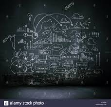 business sketch ideas against dark wall background stock photo