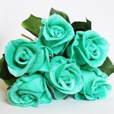 teal roses turquoise flowers real wedding ideas