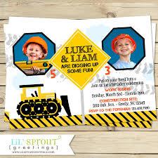 construction themed boys joint birthday invitation twin