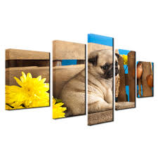pug home decor modular canvas poster frame home decor living room 5 pieces cute