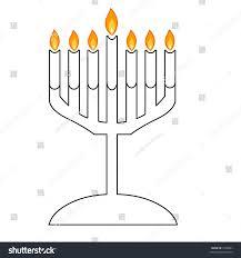 menorah 7 candles plain black white menorah 7 branched stock illustration 5582041