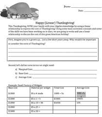 thanksgiving math linear equation thanksgiving dinner project for