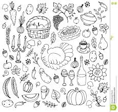 set of traditional thanksgiving symbols stock vector image