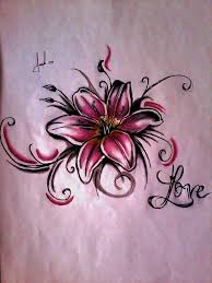 small pink lily tattoo design
