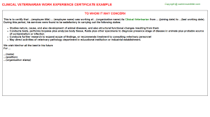 clinical veterinarian work experience certificate