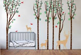 birch tree forest set vinyl nursery wall decal deer 1264