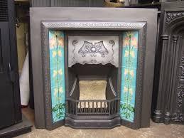 original art nouveau tiled fireplace insert 220ti old fireplaces