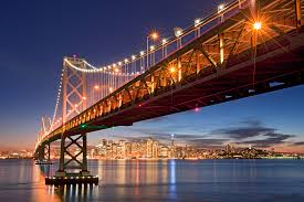 Bay Bridge Lights San Francisco Bay Bridge From Treasure Island With Holiday Lights