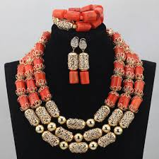 aliexpress bead necklace images Luxurious african orange coral beads jewelry sets nigerian wedding jpg