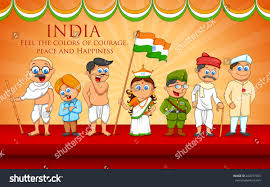 illustration kids fancy dress indian freedom stock vector
