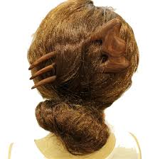 hair fork wooden hair fork carved 3 prong hair fork whs032