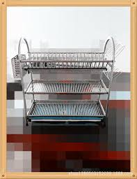 Kitchen Plate Rack Cabinet by 2017 Stainless Steel Dish Rack Shelf Three Drain Kitchen Dish Rack