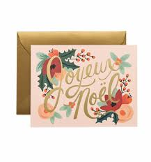 joyeux noël greeting card by rifle paper co made in usa