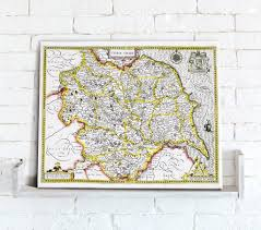 Yorkshire Map Map Canvas Vintage County Map Yorkshire From Love Maps On