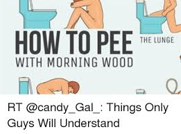 Morning Wood Meme - how to pee the lunge with morning wood rt things only guys will