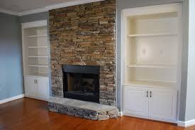 Fireplace Surround Bookshelves Interior Rustic Cast Stone Fireplace Surround With Black Wall And